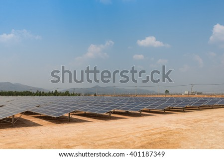 The solar farm for green energy in the field in Thailand with selective focus - stock photo