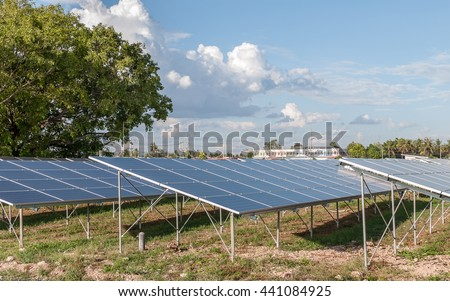 The solar farm for green energy in the field  on blue sky background,close up  - stock photo