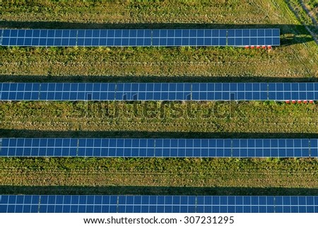 The solar farm in the Czech Republic on an aerial photo - stock photo