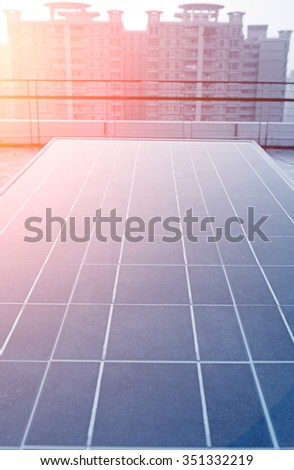 The solar panel. Photovoltaic energy from the sun. - stock photo