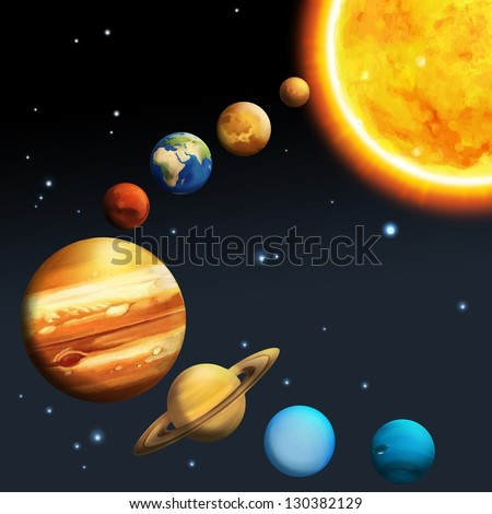 The solar system - milky way - astronomy for kids - illustration for the children - stock photo