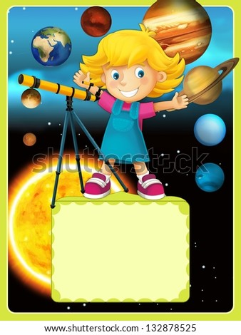 The solar system - milky way - astronomy for kids - illustration for the children