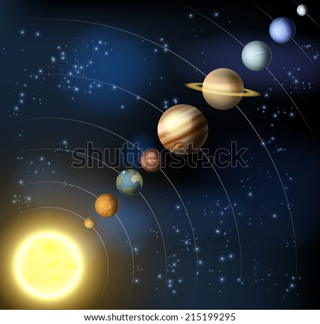 The solar system with the planets orbiting the sun including the minor dwarf planet Pluto - stock photo