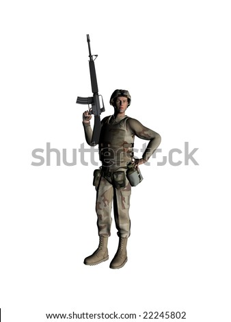 The soldier on a white background - stock photo