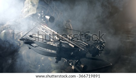 The soldier with the crossbow. Fantasy. The post Apocalypse. - stock photo