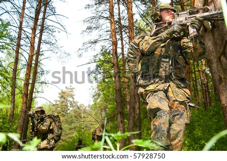 The soldiers of the Bundeswehr in the zone of military operations. - stock photo