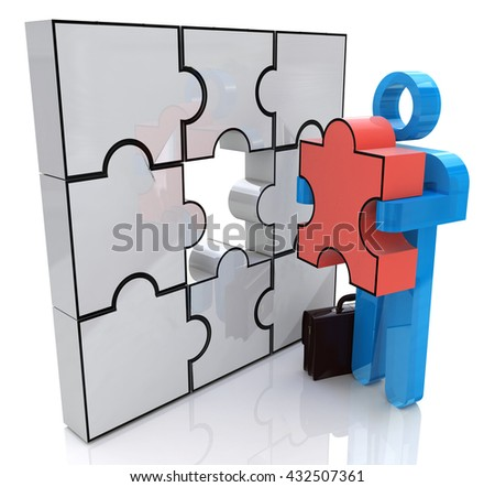 The Solution in the design of related information with a resolution of the problem. 3d illustration - stock photo