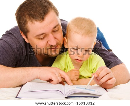The son with father reads the book on a white background