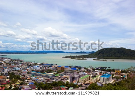 The Songkhla lake, view from Tang Kuan hill - stock photo