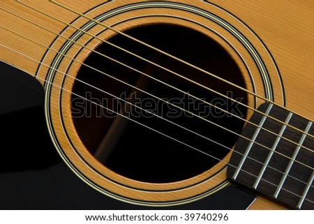 The sound hole of an acustic guitar