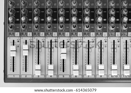 the soundboard in the Studio, working with sound, professional equipment for music.