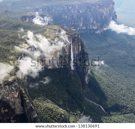 The source of the river supply Angel Falls is worlds highest waterfalls (978 m) (view from the plane) - Venezuela, Latin America - stock photo