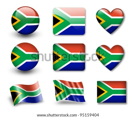 The South African Republic flag - set of icons and flags. glossy and matte on a white background. - stock photo