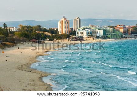 The South beach of Nessebar Black sea resort Bulgaria - stock photo
