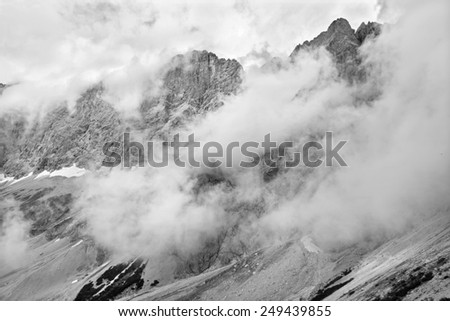 The south face of Dachstein massif in clouds - Austria