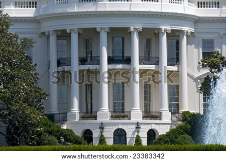 The south face of the White House in Washington on a summer day. - stock photo