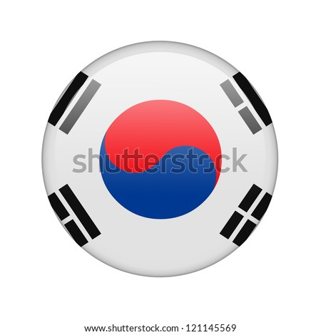 The South Korea flag in the form of a glossy icon. - stock photo