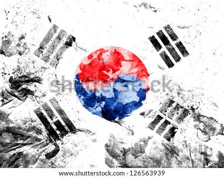 The South Korea flag  painted dirty and grungy paper - stock photo