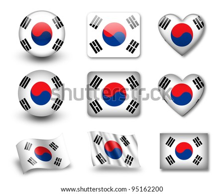 The South Korea flag - set of icons and flags. glossy and matte on a white background. - stock photo