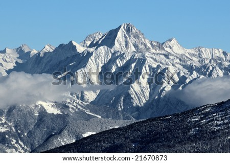 The  south west face of the Biestschhorn in the swiss alps - stock photo
