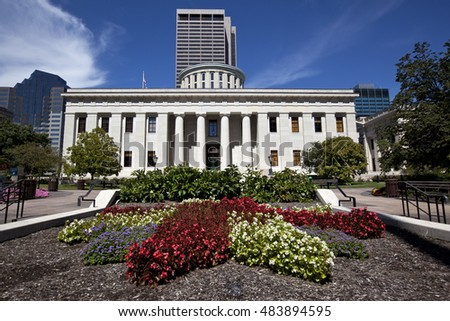 The southern facade of the Ohio Statehouse