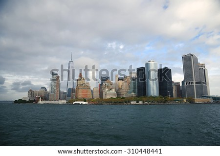 The southern of Manhattan with the Tower of Freedom as seen from the Hudson River   - stock photo
