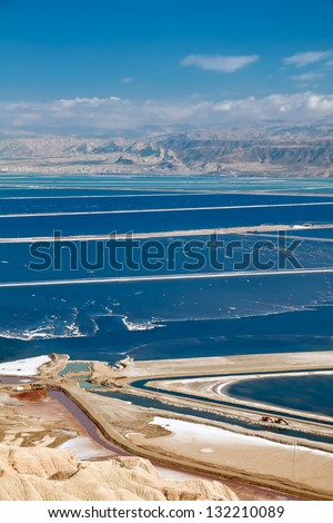 The southern part of the Dead Sea, is divided into pools from which extract minerals. - stock photo