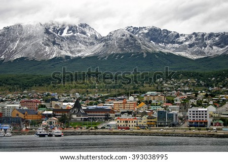The southernmost city of Ushuaia, Argentina with the Martial mountain range in the background.
