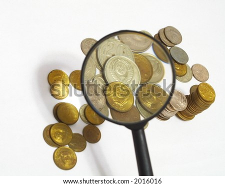 The Soviet coins through magnifying glass - stock photo