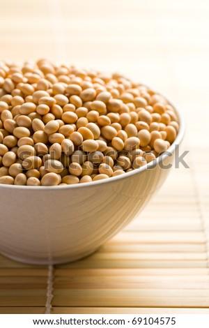 the soya beans in ceramic bowl - stock photo