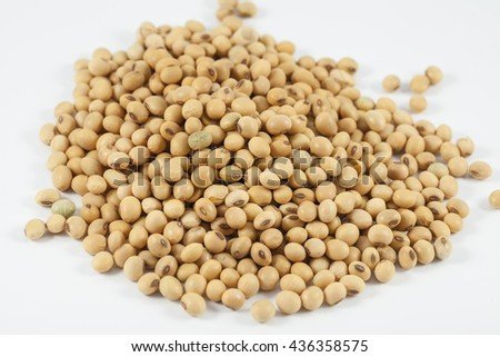 The soya beans on white background