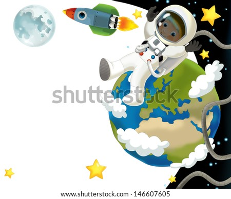 The space journey - happy and funny mood - illustration for the children, XXL file - stock photo