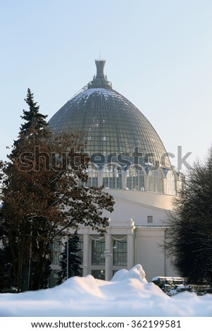 The space pavilion at the Moscow exhibition of national achievements photographed close up - stock photo