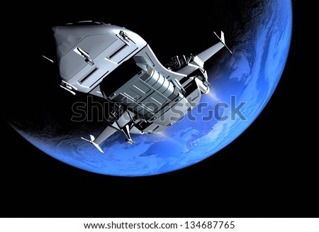 The space ship in outer space - stock photo