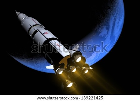 "The space ship in outer space.""Elemen ts of this image furnished by NASA"""