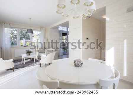 The spacious and bright dining room in apartment