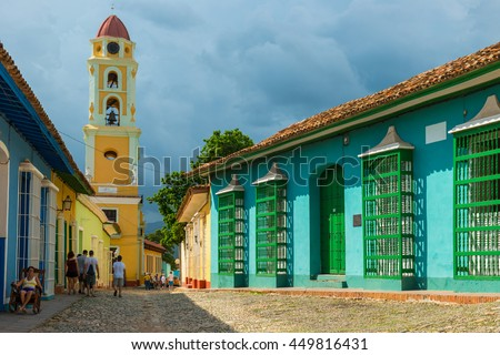 The Spanish colonial architecture of the Plaza Mayor in Trinidad, Cuba.