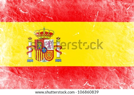 The Spanish flag painted in vintage style