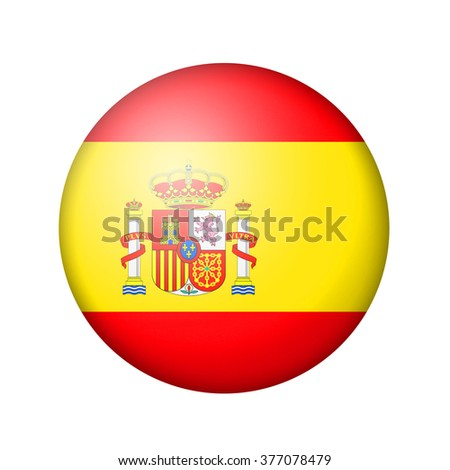 The Spanish flag. Round matte icon. Isolated on white background. - stock photo