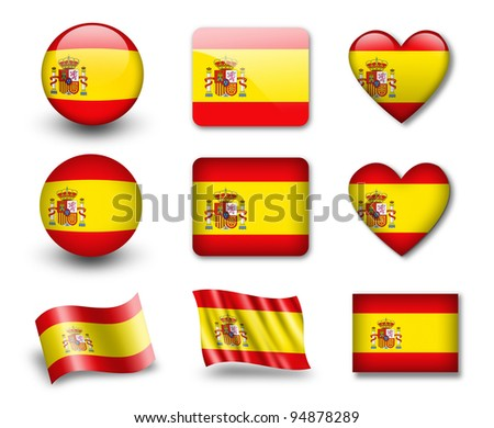 The Spanish flag - set of icons and flags. glossy and matte on a white background. - stock photo