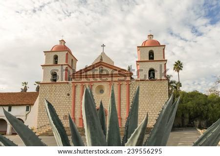 The Spanish historic Santa Barbara Mission in California. - stock photo