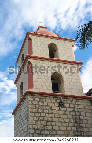 The Spanish historic Santa Barbara Mission in California. - stock photo
