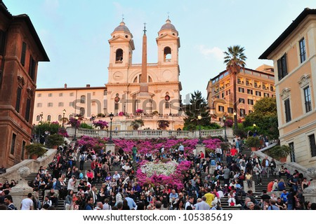The Spanish Steps in Rome, Italy. - stock photo