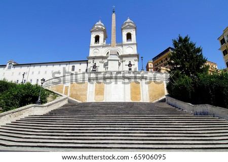 The Spanish Steps in Rome Italy - stock photo