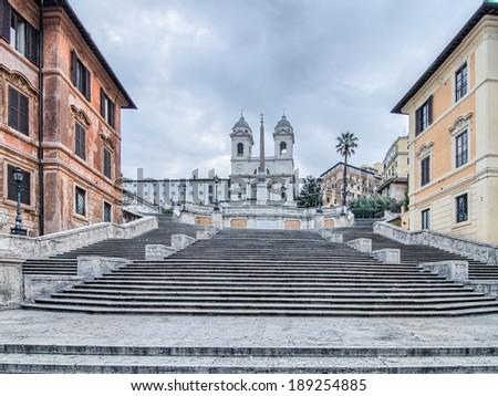 The Spanish Steps in Rome. Scalinata della Trinita dei Monti - stock photo