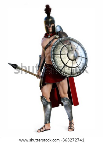 The Spartan , Full length illustration of a Spartan in Battle dress posing on a white background. Photo realistic 3d model scene. - stock photo