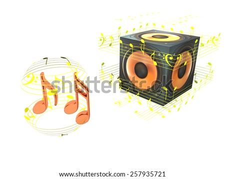the speaker and music notes  - stock photo