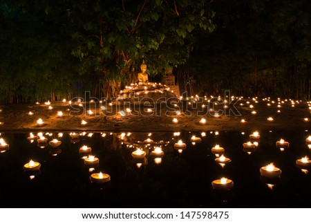 The special day of Buddhism, Buddha image in sitting attitude  - stock photo