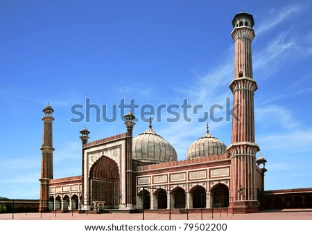 The spectacular architecture of the Great Friday Mosque (Jami Masjid) in Delhi, the most important mosque in India.