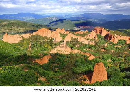 The spectacular landscape of Las Medulas. Ponferrada, Spain - stock photo